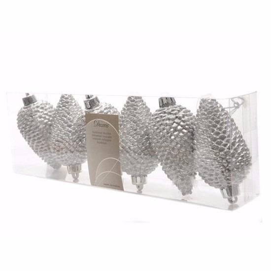 Kerstboom kerstbal dennenappels zilver Christmas Silver 6 stuks