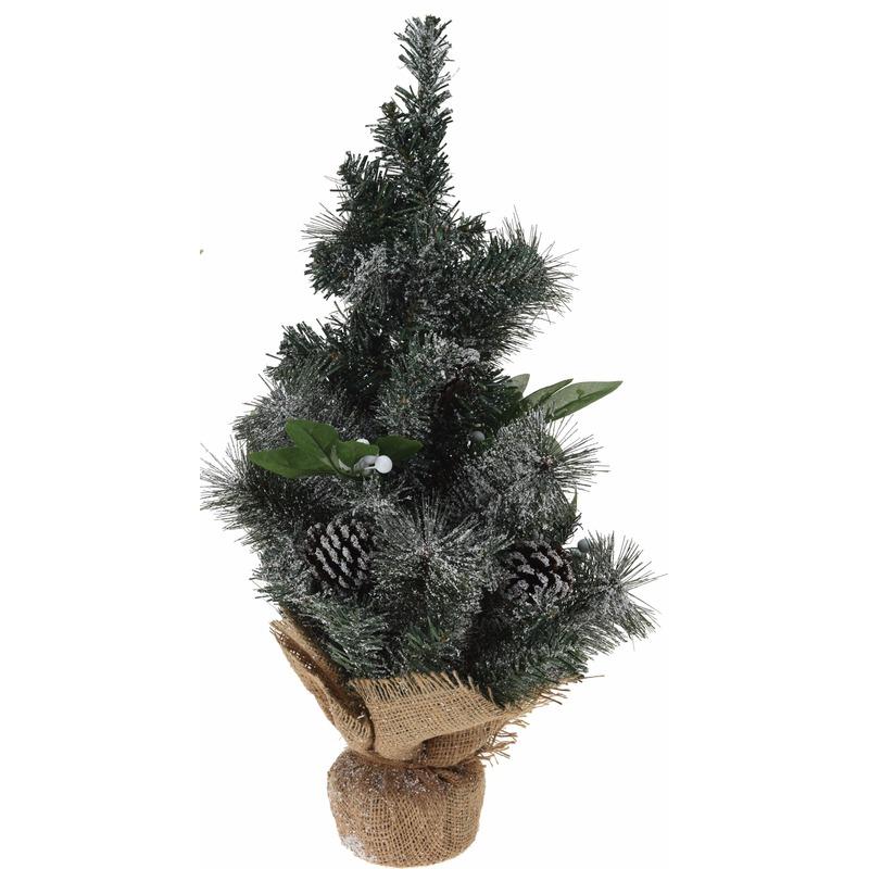 Kerstboom met versiering/decoratie en jute voet 50 cm
