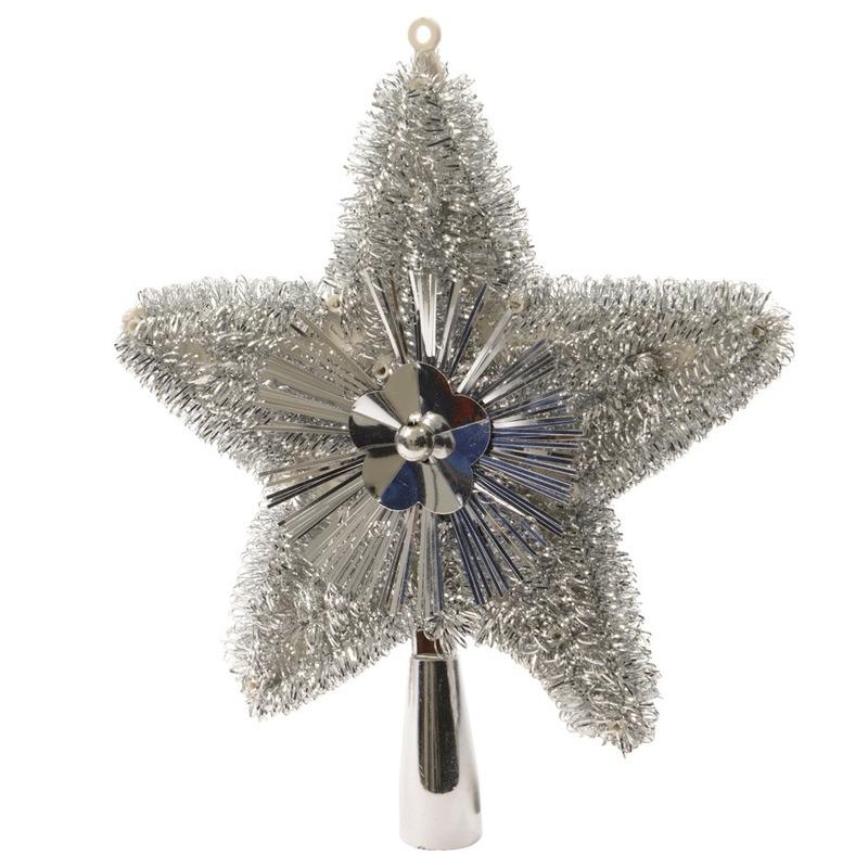 Kerstboom piek glitters zilver 23 cm
