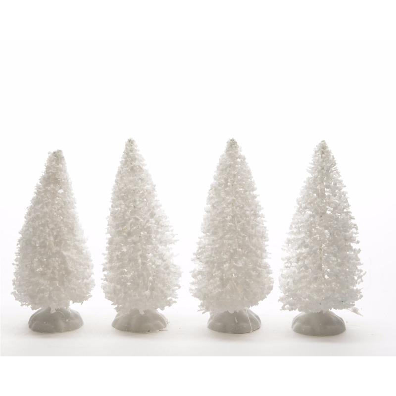 Kerstdorp onderdelen 4x besneeuwde decoratie dennenbomen 10 cm