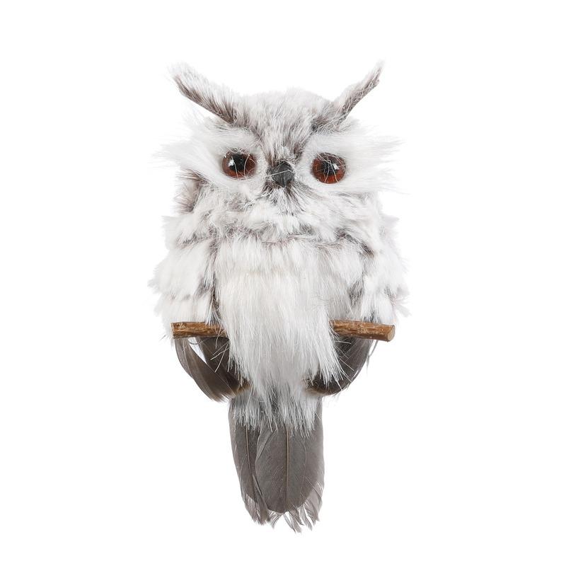 Kersthangers figuurtjes uil grijs 17 cm