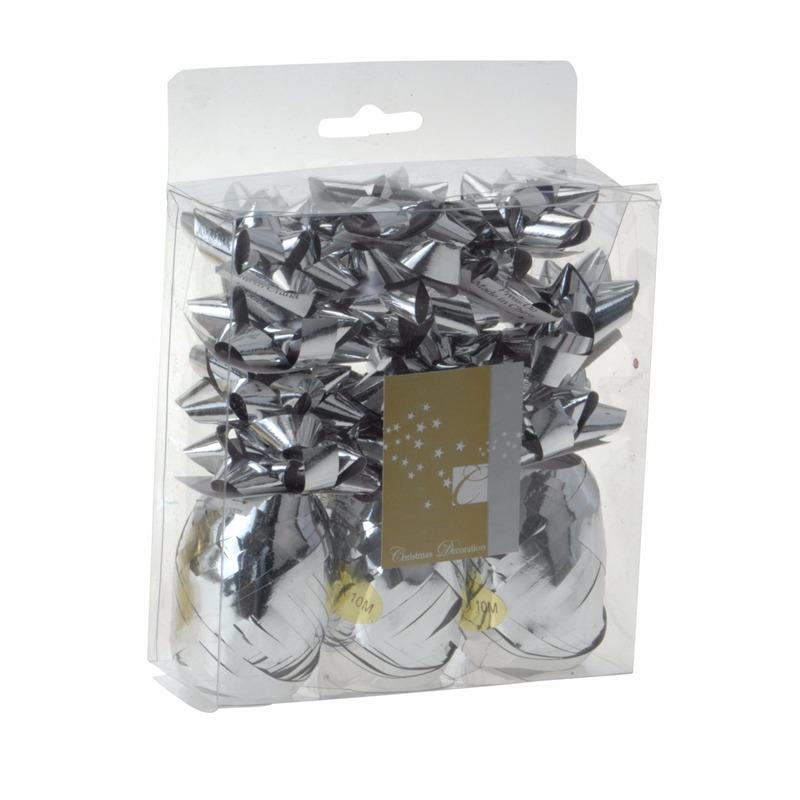 Kerstkado versiering zilver 15 delig