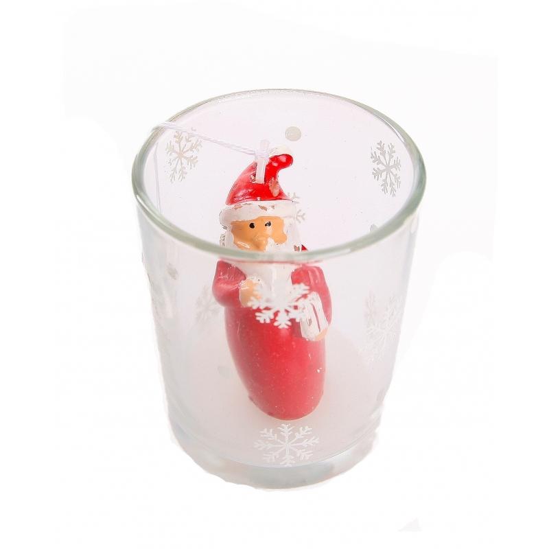 Kerstman kaarsje in glas 6,5 cm