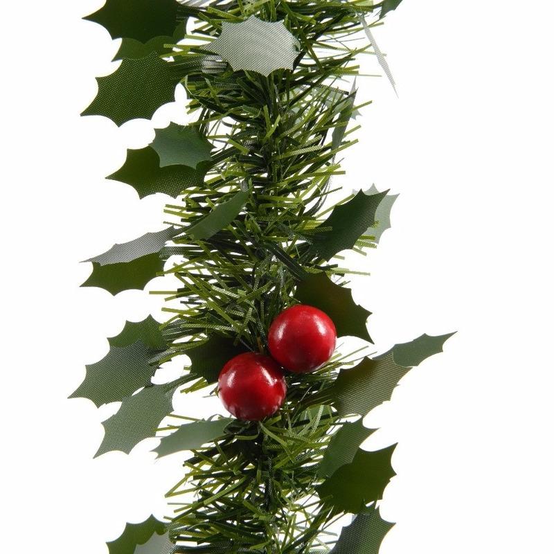 Kerstslinger guirlande groen hulst 270 cm