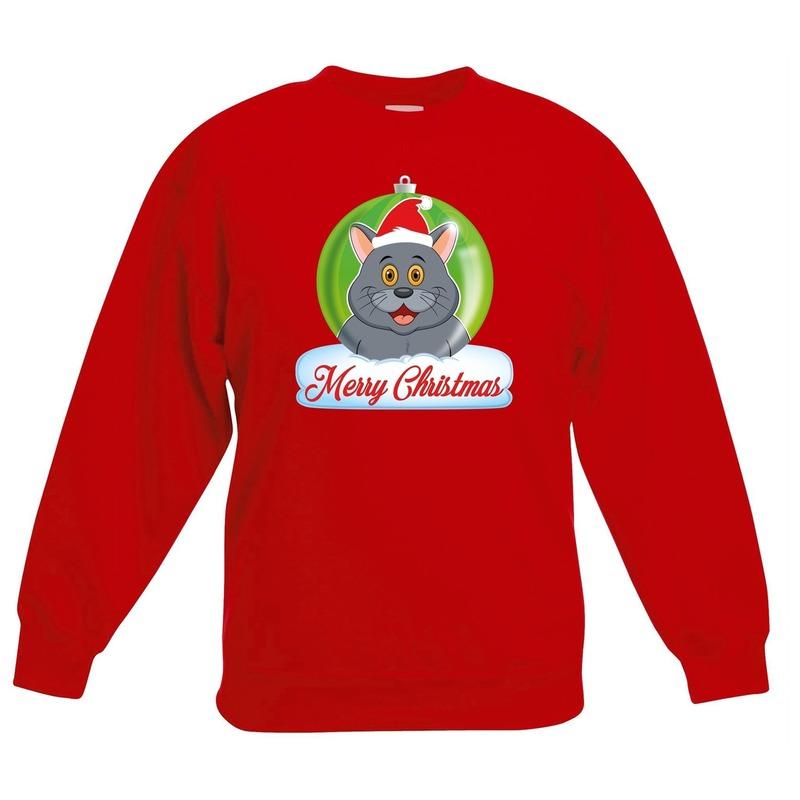 Kersttrui Merry Christmas grijze kat - poes kerstbal rood kinde