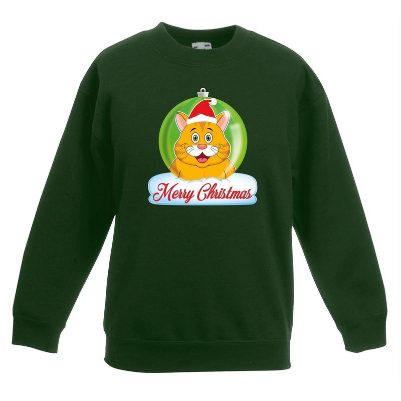 Kersttrui Merry Christmas oranje kat - poes kerstbal groen kinde