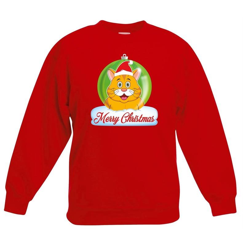 Kersttrui Merry Christmas oranje kat - poes kerstbal rood kinde