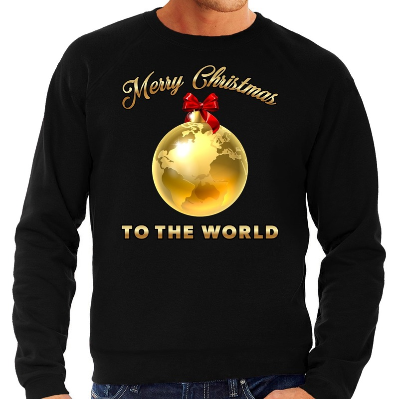 Kersttrui Merry Christmas to the world goud glitter zwart heren