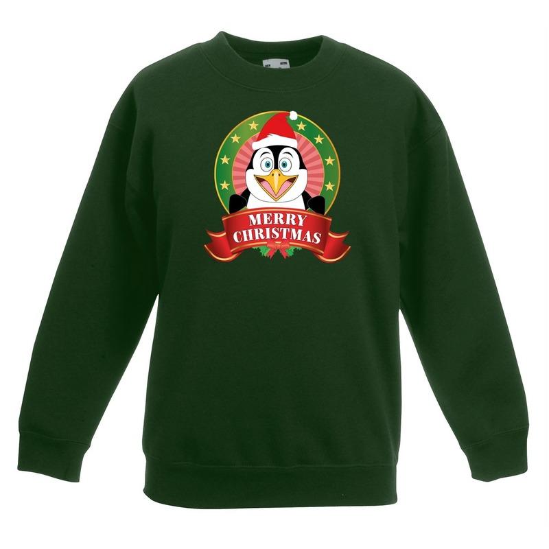 Kersttrui met een pinguin groen jongens en meisjes