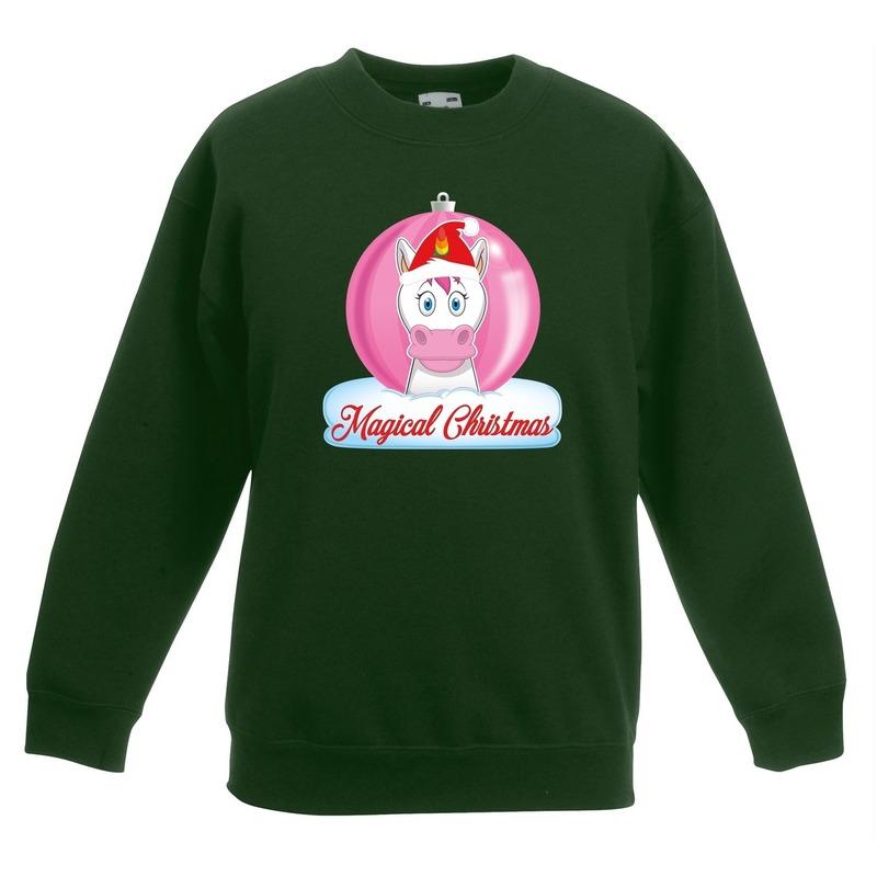 Kersttrui met roze eenhoorn kerstbal groen voor meisjes