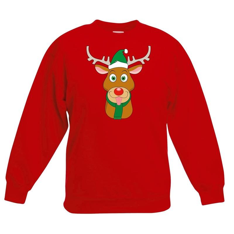 Kersttrui rendier Rudolf met groene kerstmuts rood kinderen