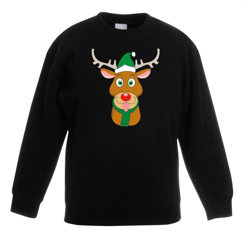 Kersttrui rendier Rudolf met groene kerstmuts zwart kinderen