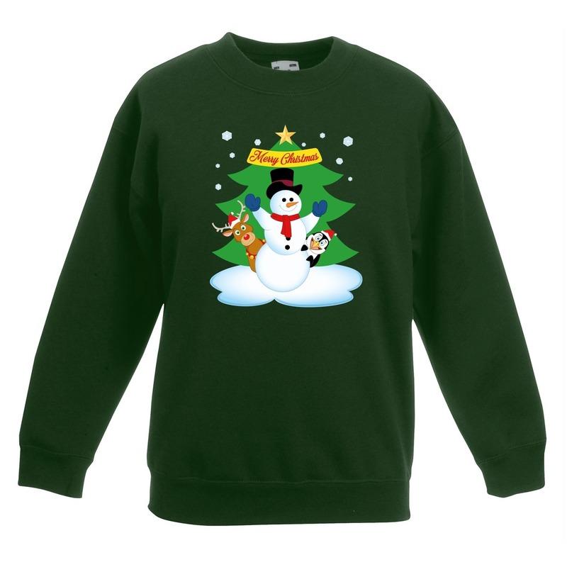 Kersttrui sneeuwpop en vriendjes groen kinderen