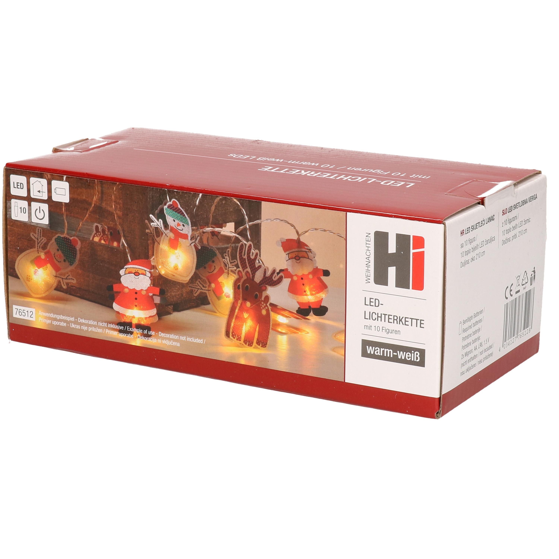 Kerstverlichting lichtsnoeren kerstfiguren op batterij met 10 lampjes