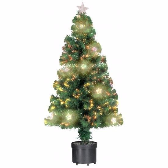 Kleine kunst kerstboom met verlichting en versiering 60 cm