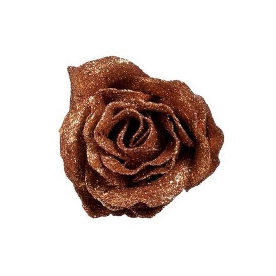 Koperen roos met glitters op clip 7 cm - kerstversiering