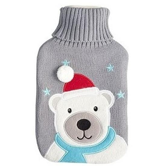 Kruik Kerst ijsbeer grijs gebreide hoes 2 liter