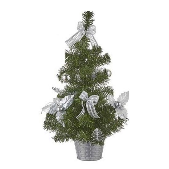 Kunst Kerstboom met zilveren versiering 52 cm