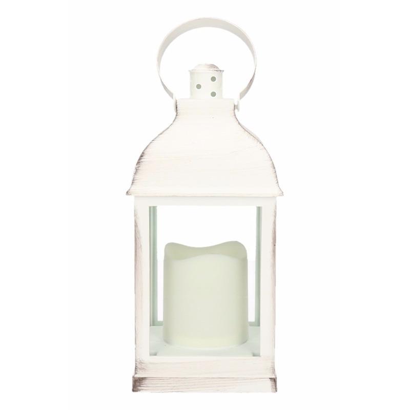 Lantaarn met LED kaars wit 24 cm type 2