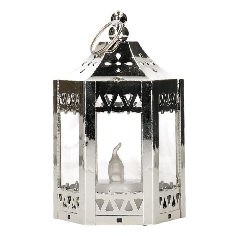 Lantaarn met LED theelichtje/waxinelichtje zilver 10 cm