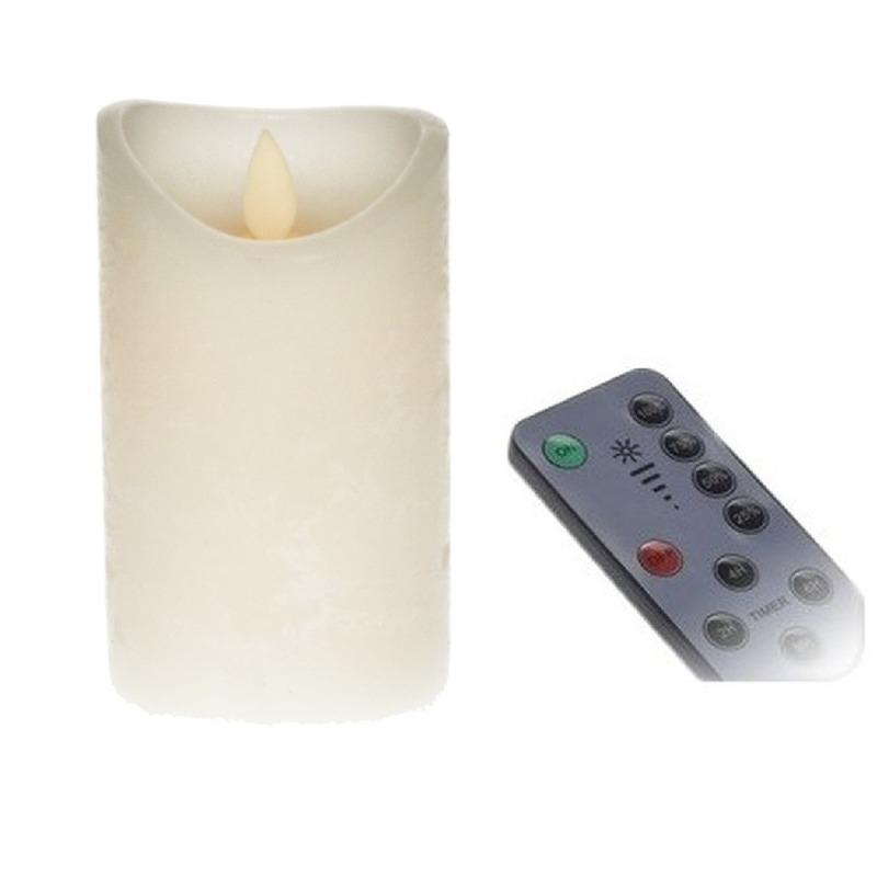 LED kaars/stompkaars ivoor 12 cm inclusief afstandsbediening