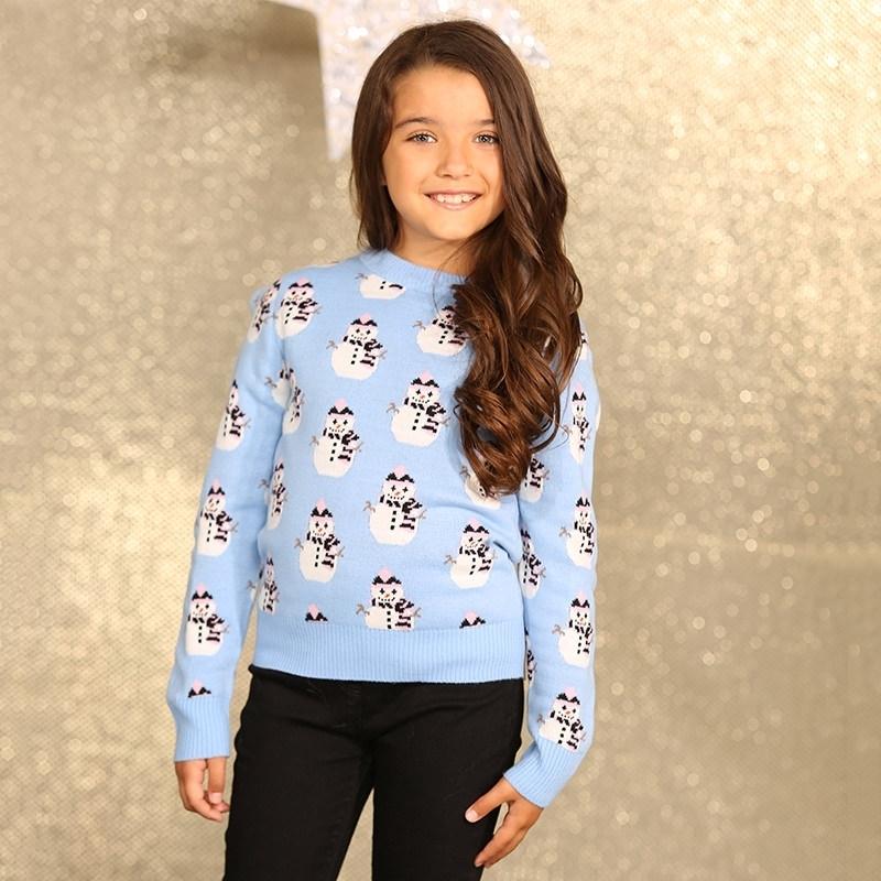 Kersttrui Meisje.Lichtblauwe Kersttrui Voor Meisjes Voor Kerst Bestellen Kerst