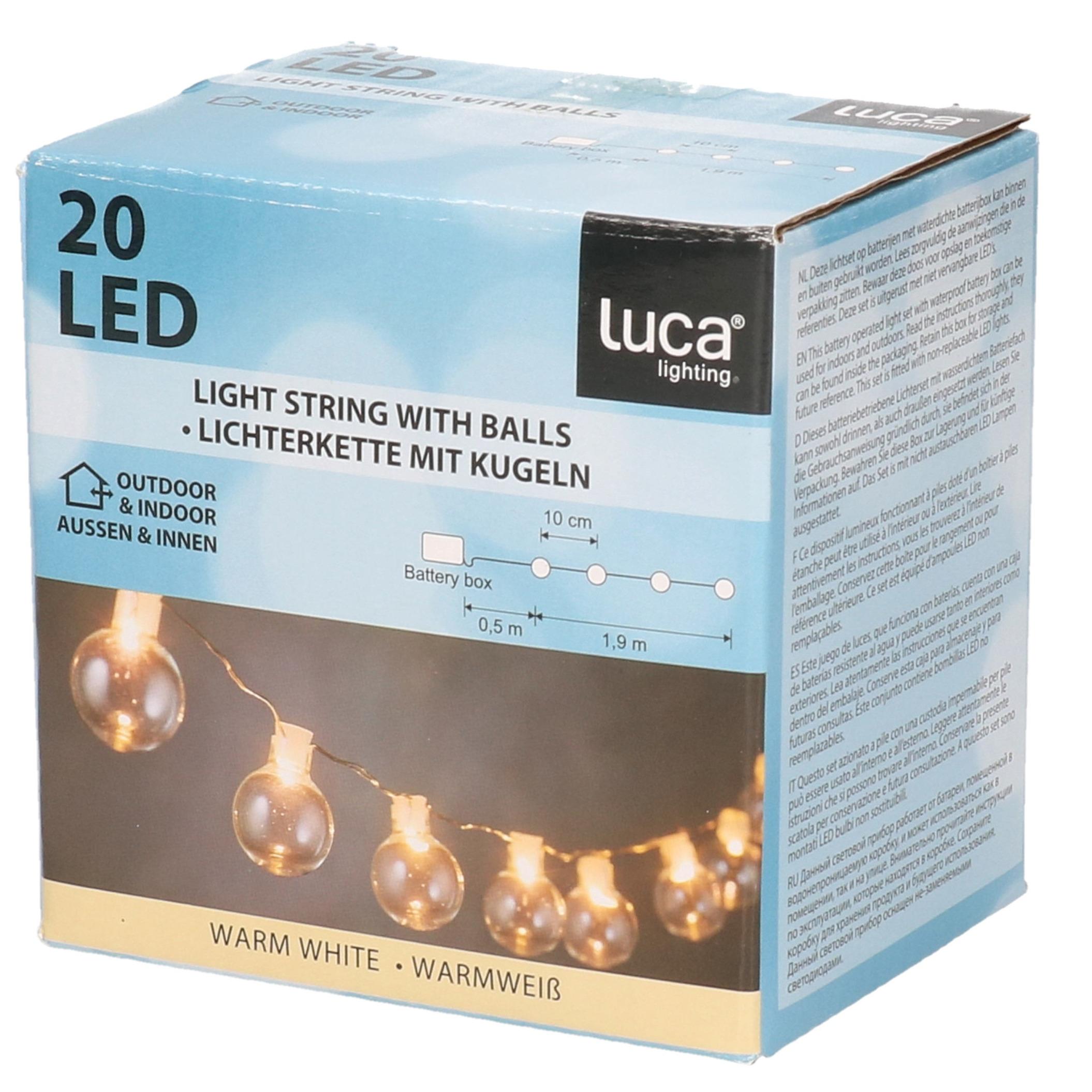 Lichtsnoer met 20 helder witte lampjes op batterijen 4 meter