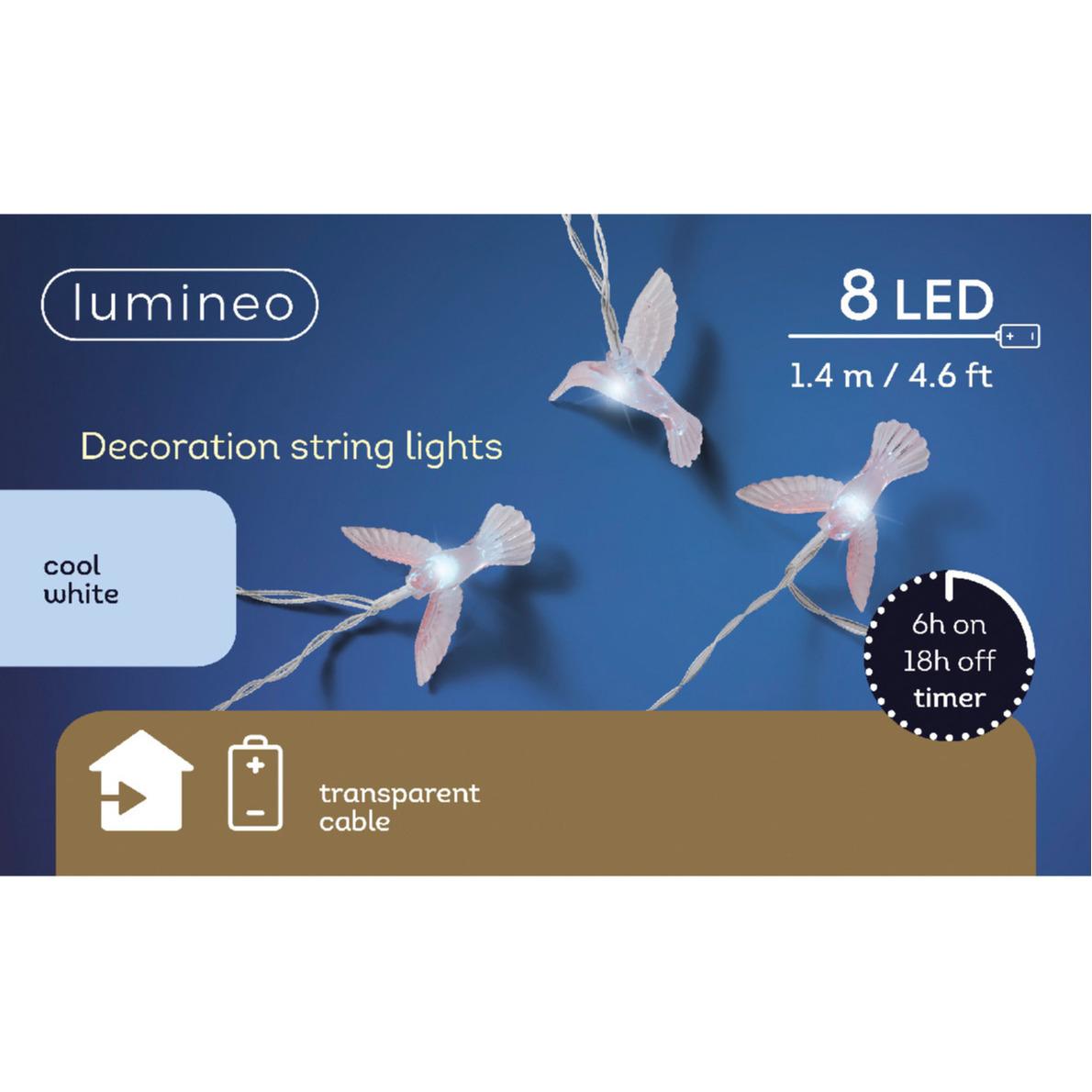 Lichtsnoeren met 8 Kolibrie vogeltjes/vogels 140 cm op batterijen
