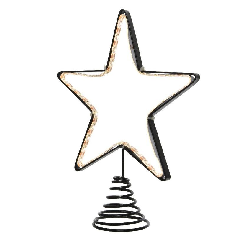 Metalen kerstboom piek met Led lampjes 22 cm