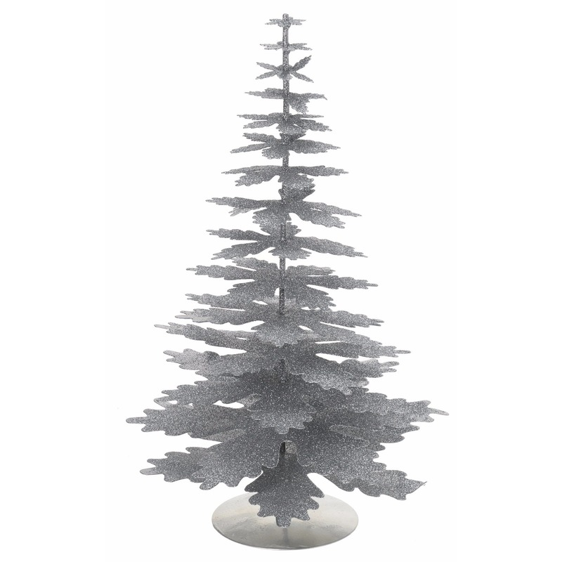 Mini Kerstboom glitter zilver 35 cm