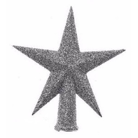 Mini kerstboom piek zilver glitter