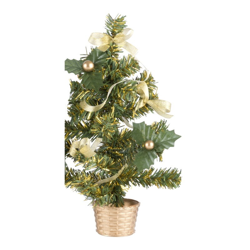 Mini kerstboompje met gouden versiering 20 cm