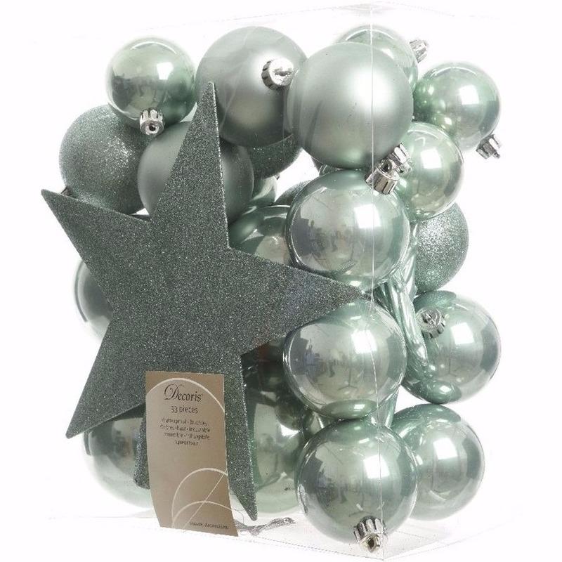 Mint kerstboomversiering set Sweet Christmas 33 delig