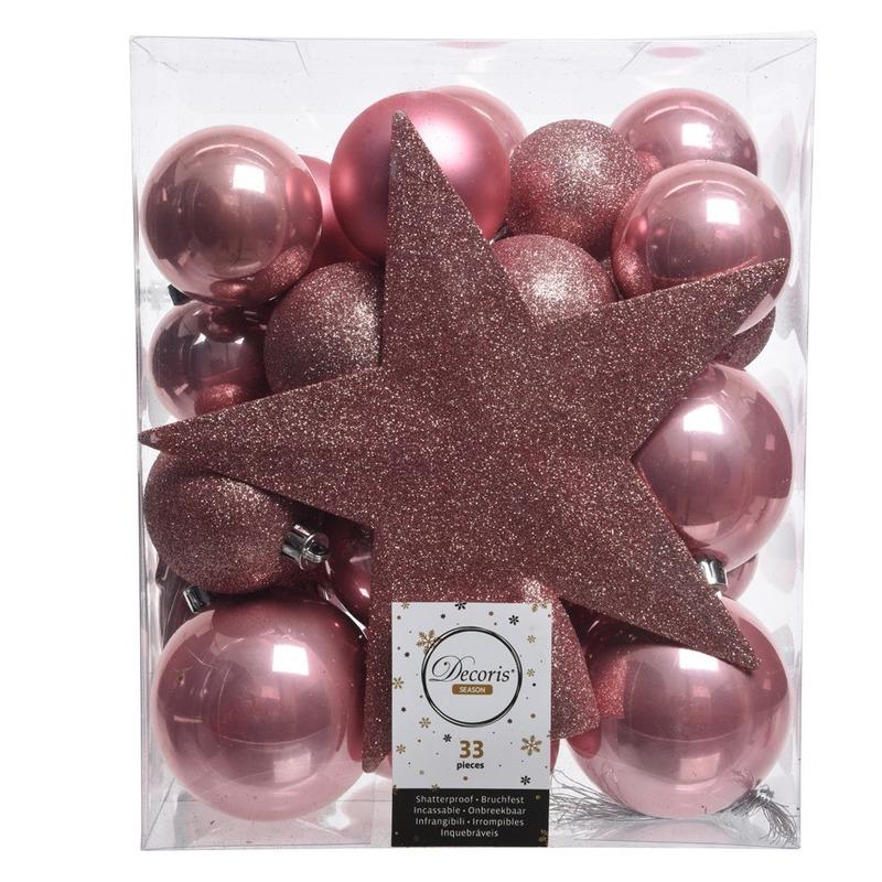 Oud roze kerstballen pakket met piek 33 stuks