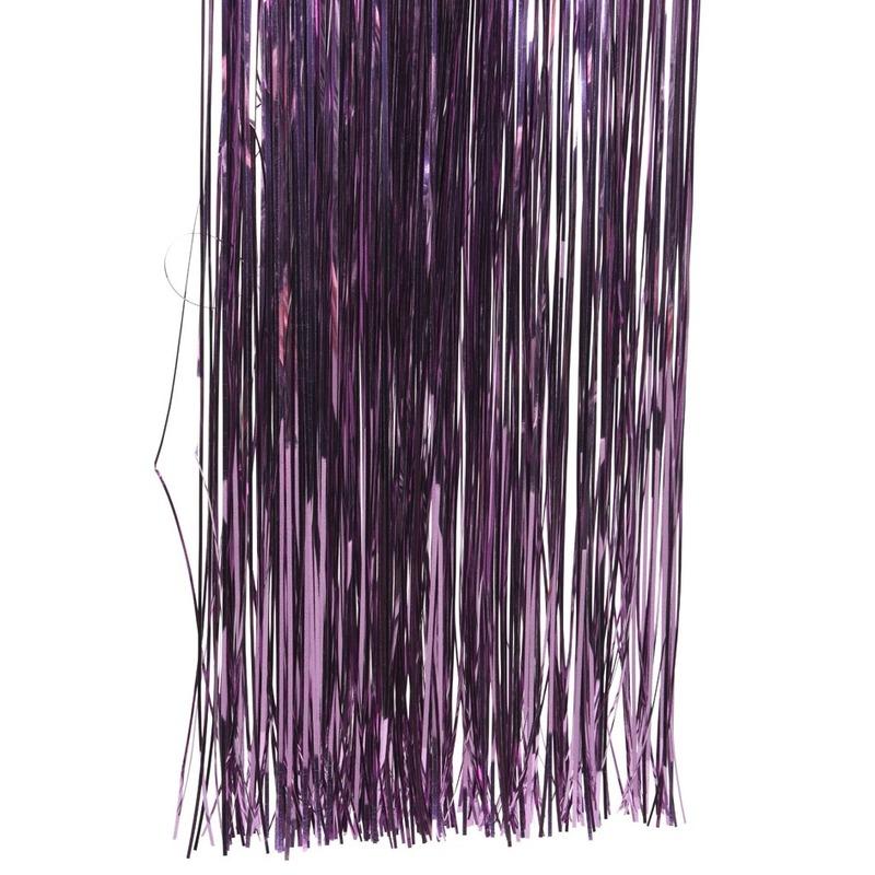 Paarse kerstversiering folie slierten 50 cm