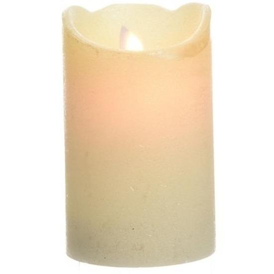 Parel witte LED kaarsen/stompkaarsen 12 cm flakkerend