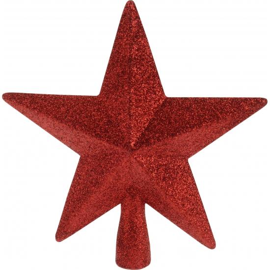 Piek ster rood met glitters 19 cm