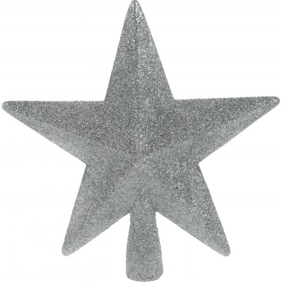 Piek ster zilver met glitters 19 cm