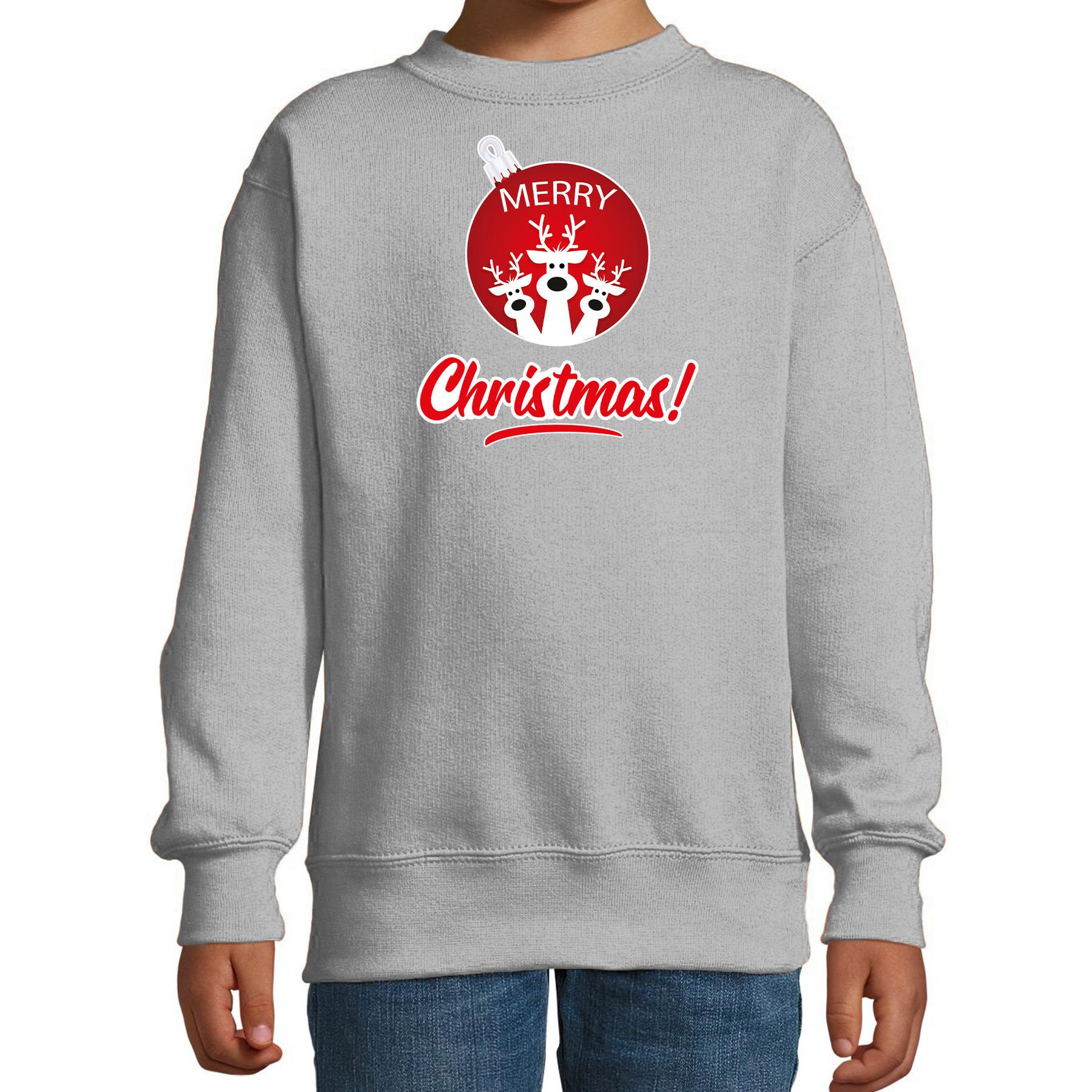 Rendier Kerstbal sweater - Kerst outfit Merry Christmas grijs voor kinderen