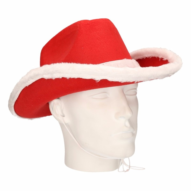 Rode cowboy kersthoed voor volwassenen