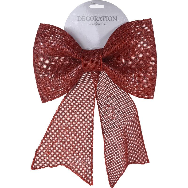 Rode glitter strik 29 cm