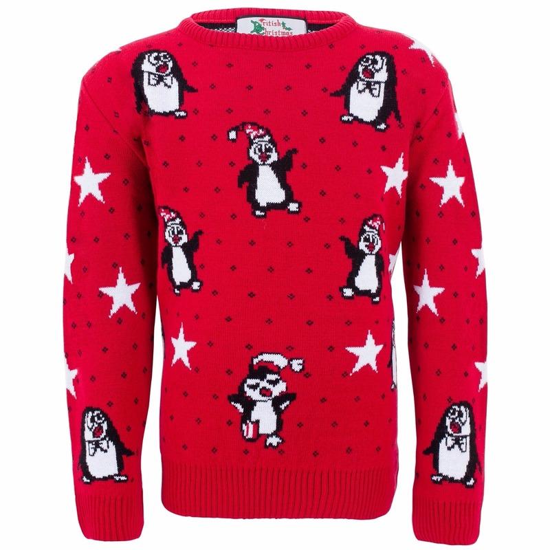 Rode meisjes kersttrui met pinguins