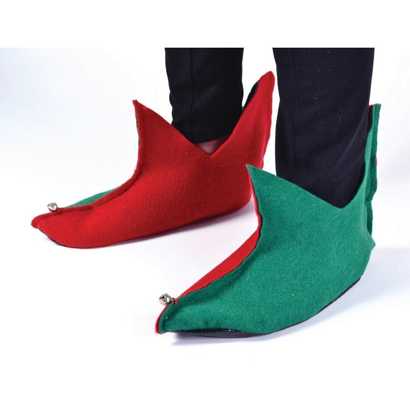Rood/groene elfen schoenen voor volwassenen