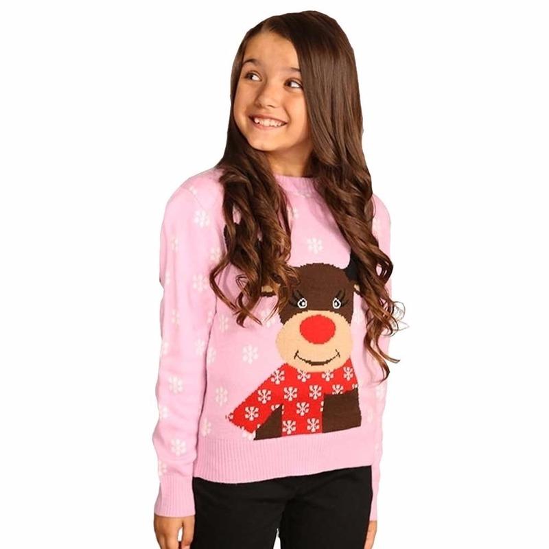 Meisjes Kersttrui.Roze Kersttrui Voor Meisjes Voor Kerst Bestellen Kerst Decoratie