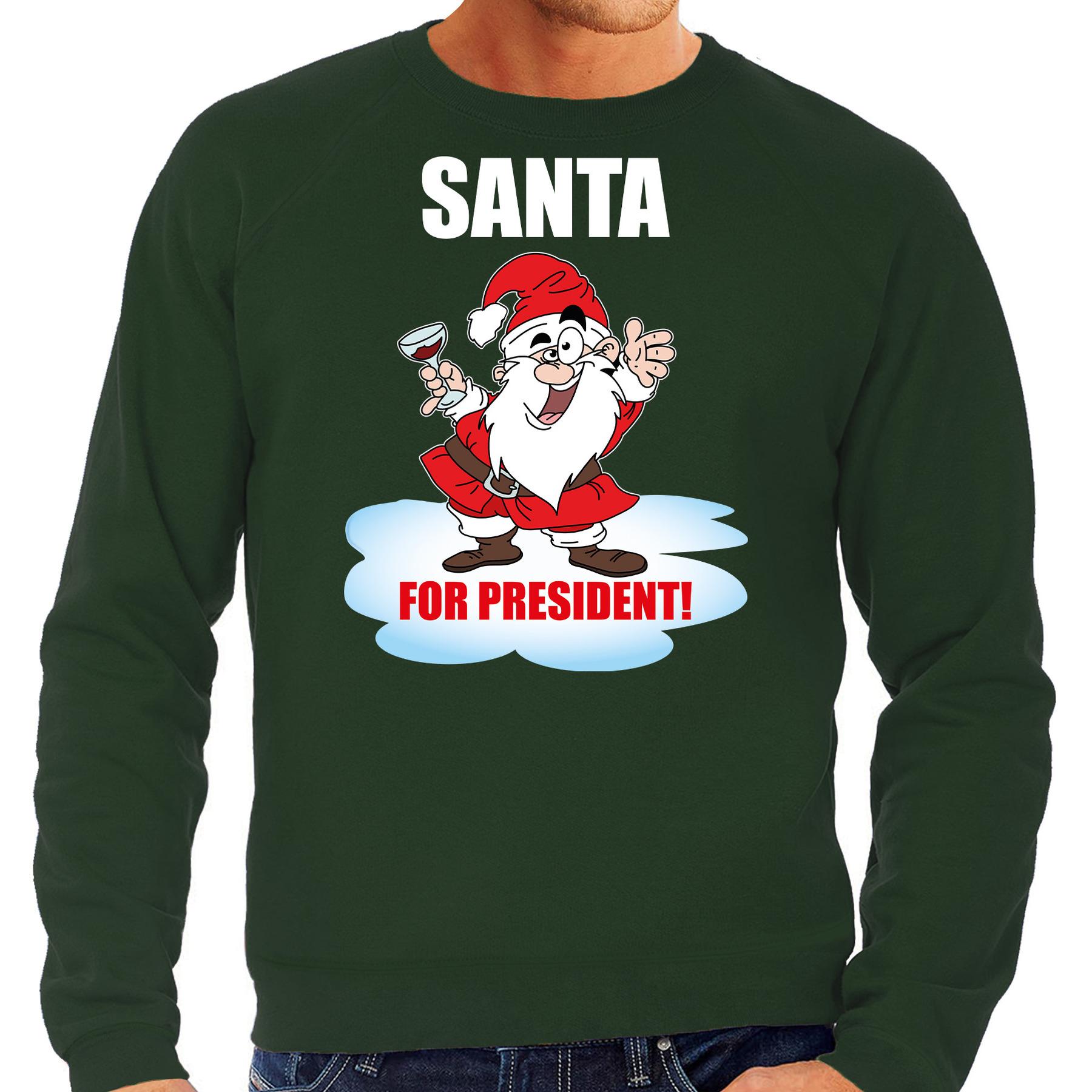 Santa for president Kersttrui - Kerst outfit groen voor heren