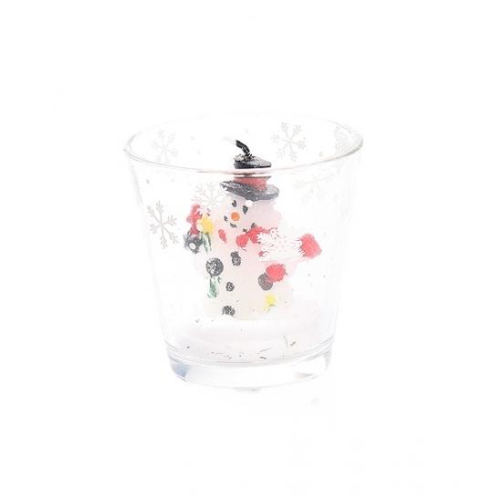 Sneeuwpop kaarsje in glas 6,5 cm