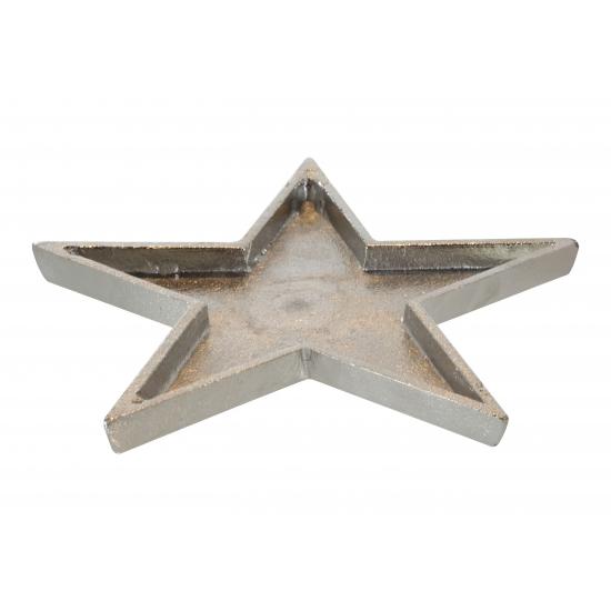 Ster kaarsen onderboord metaal 26 cm