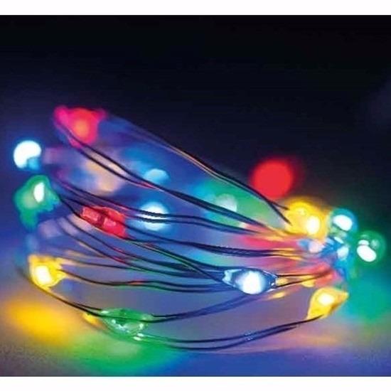 Timer draadverlichting zilverdraad 20 gekleurde lampjes - 95 cm