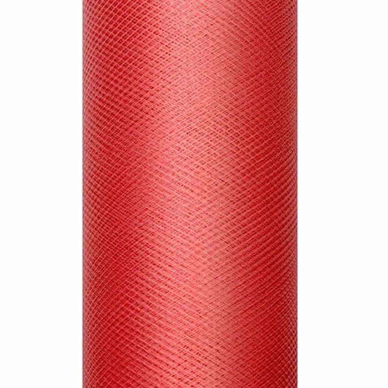 Tule stof rood 15 cm breed