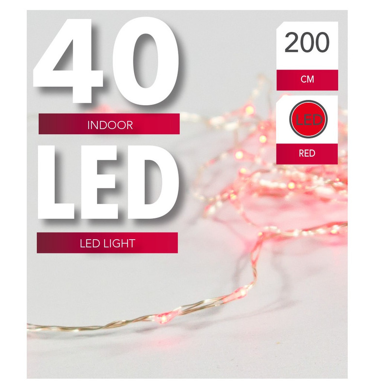 Verlichting lichtdraad 40 rode LED lampjes op batterijen 200 cm